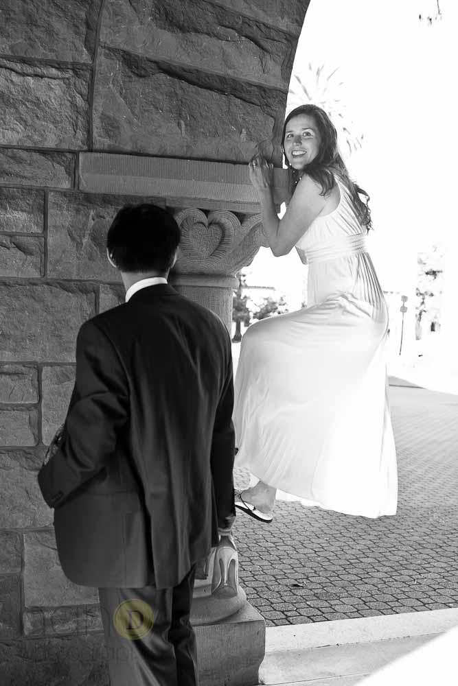 bride wall climbing photo