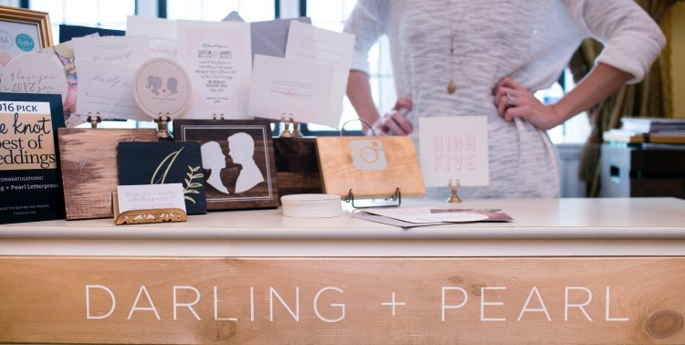 Darling + Pearl wedding stationer at The Princeton Wedding show at Nassau Inn. Photography by Princeton wedding photographer Nan Doud Photography.
